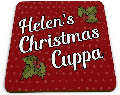 Personalised Christmas Cuppa Novelty Glossy Mug Coaster